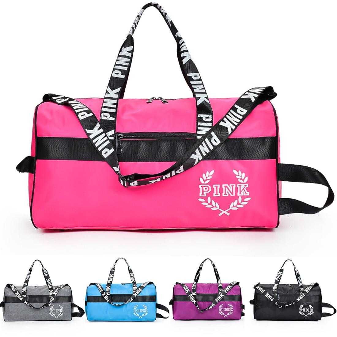 цена 2018 Love Pink Girl Travel Duffel Bag Women Travel Handbags Beach Shoulder Bags Sport Gym Bags Waterproof pack
