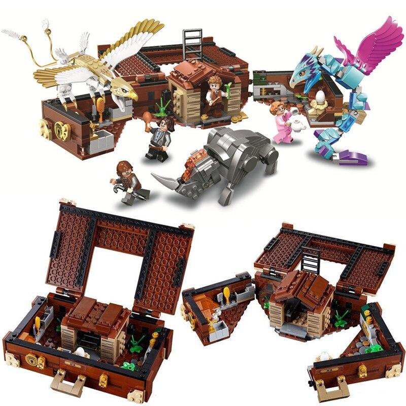 16059 caso de animais fantásticos grindelwald newt de criaturas mágicas blocos de construção conjunto brinquedos compatíveis legoing 75952
