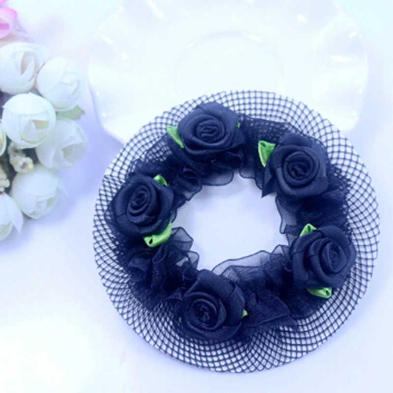 น่ารักKawaii Girlsดอกไม้ลูกไม้Reusable Bun Netsสำหรับนักเต้นเด็กBunสุทธิCoverอุปกรณ์เสริมบัลเล่ต์Dancewear
