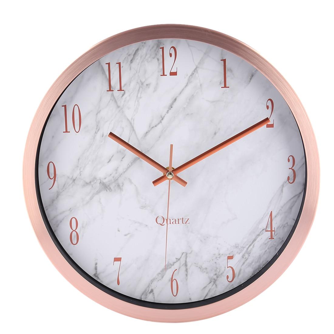 12 Inch Watch Wall Clocks Silente Round Marbling Household Office Livingroom Mute Hanging Clock Wall Decor