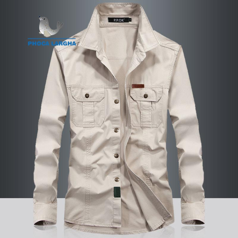 Military Quick-drying Men's Tactical Clothing Outdoor Camping Long-sleeved Shirts Turn-down Collar Large Size Shirts Male Khaki