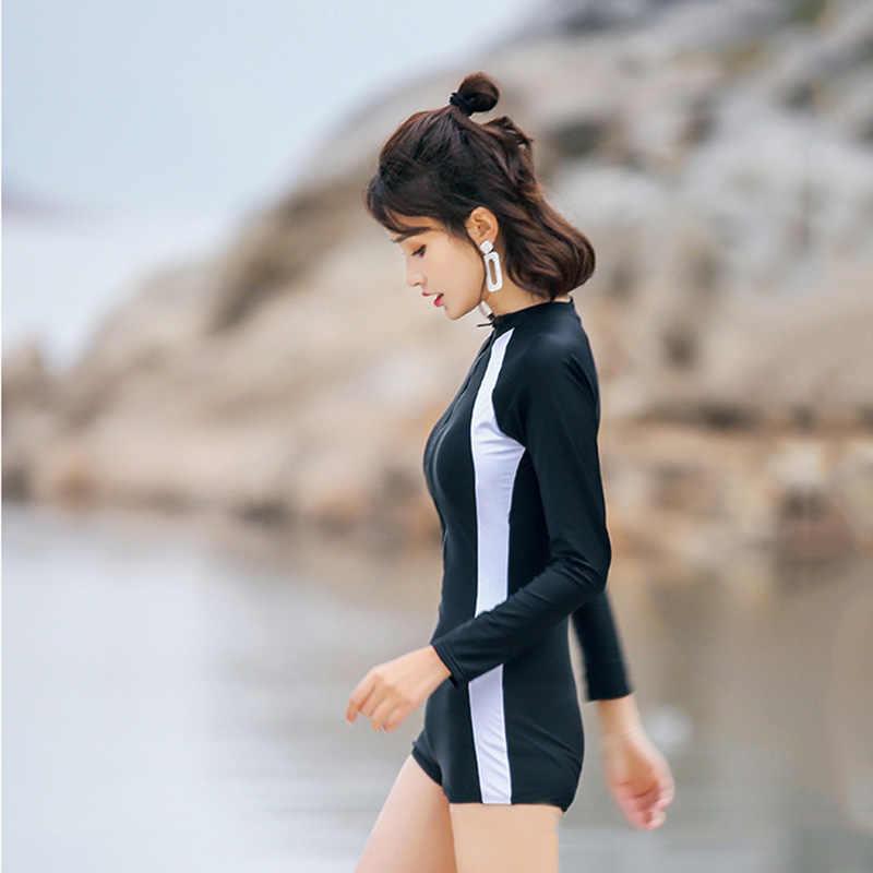 Wanita One Piece Swimsuit Partysu Mahasiswa Konservatif Pakaian Renang Berselancar Pakaian Selam Wetsuit Bathing Gugatan Swimwear Beachwear SCL507