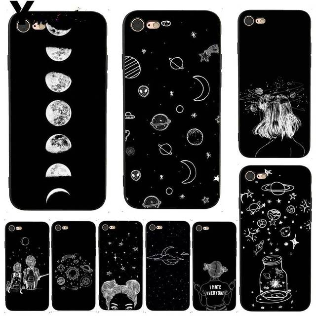 reputable site a925b 8b0df US $1.21 6% OFF|Yinuoda For iphone 7 6 X Case Sky Space planet Black and  white sun Moon star Phone Case for iPhone X 8 7 6 6S Plus X 5 5S SE 5C-in  ...