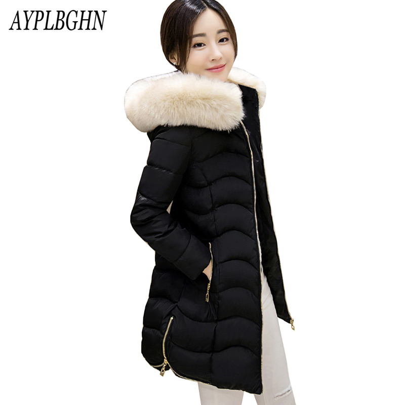 Women's Thick Warm Long Winter Jacket Women Parkas 2017 Fur Collar Hooded Cotton Padded Winter Coat Female Manteau Femme 5L81 women winter cotton padded jacket warm slim parkas long thick coat with fur ball hooded outercoat female overknee hoodies parkas