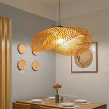 China Lamp Wood Bamboo Art LED Pendant Lights & Lighting Rattan Pendant Lamps Dining Room Home Indoor Luminaire Kitchen Fixtures недорого
