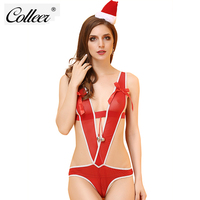 COLLEER 2PCS Women Sexy Faux Fur Mesh See Through Christmas Lingerie Sets Top Bra With G