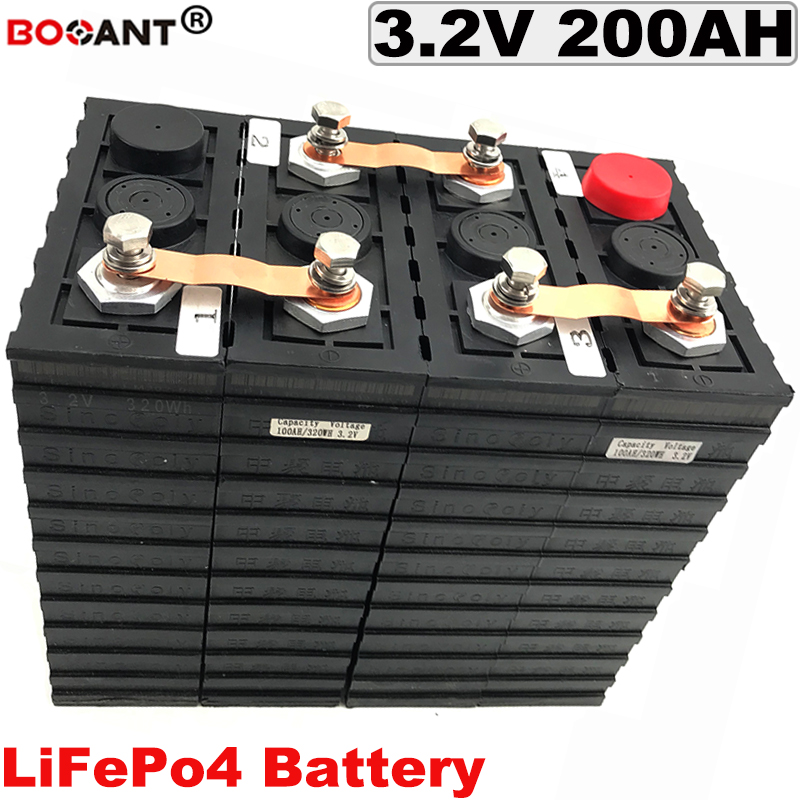 Rechargeable Battery Deep Cycle LiFePo4 Battery 3.2V 200Ah For Electric Vehicle 12V 24V 36V 48V Electric Bicycle Lithium Battery