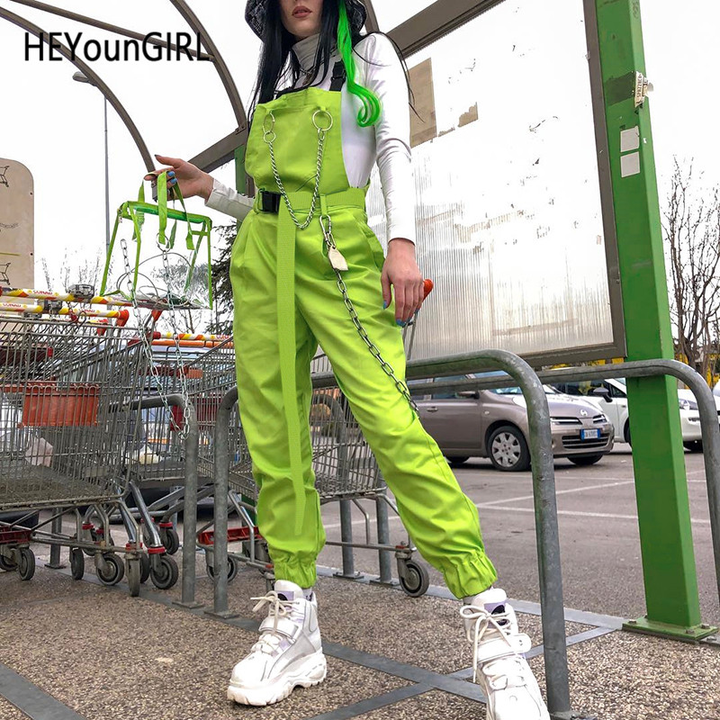 HEYounGIRL Harajuku Korean Womens Overalls Pants Neon Green Cotton Pants Capri High Waist Trousers With Chain Pocket Streetwear