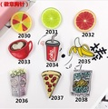 DIY Creative Cartoon Harajuku Style Cute Acrylic Fruit Cartoon Badge Acrylic Cup Coffee Bread  Brooch Jewelry Accessories
