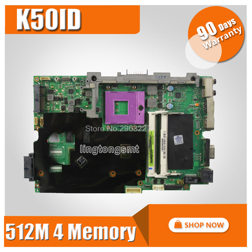 все цены на laptop motherboard for asus K50ID 512M 4 Memory K50I K50IE X5DI K50ID board mainboard fit 15.6-inch screen notebook tested ok онлайн