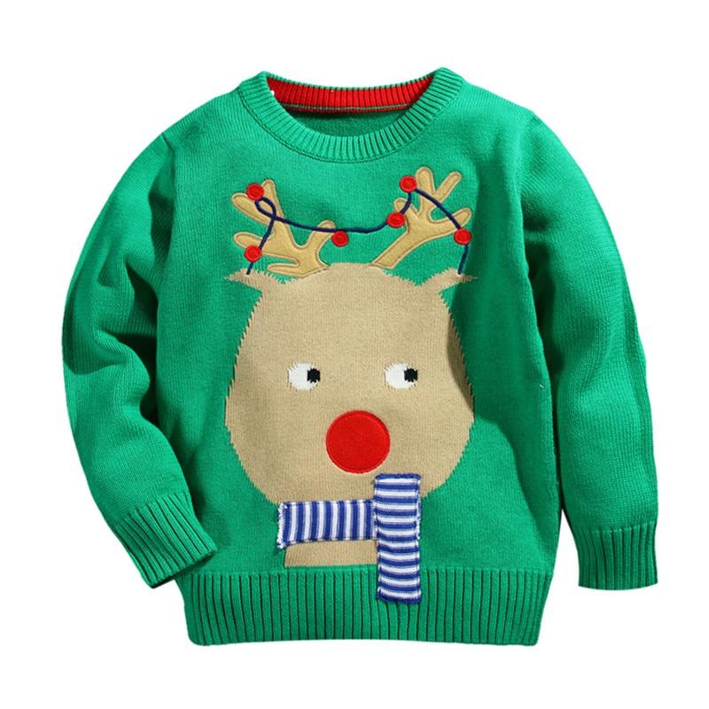 Christmas boys sweaters,cute elk pattern kids green knitting shirt,fashion ch...