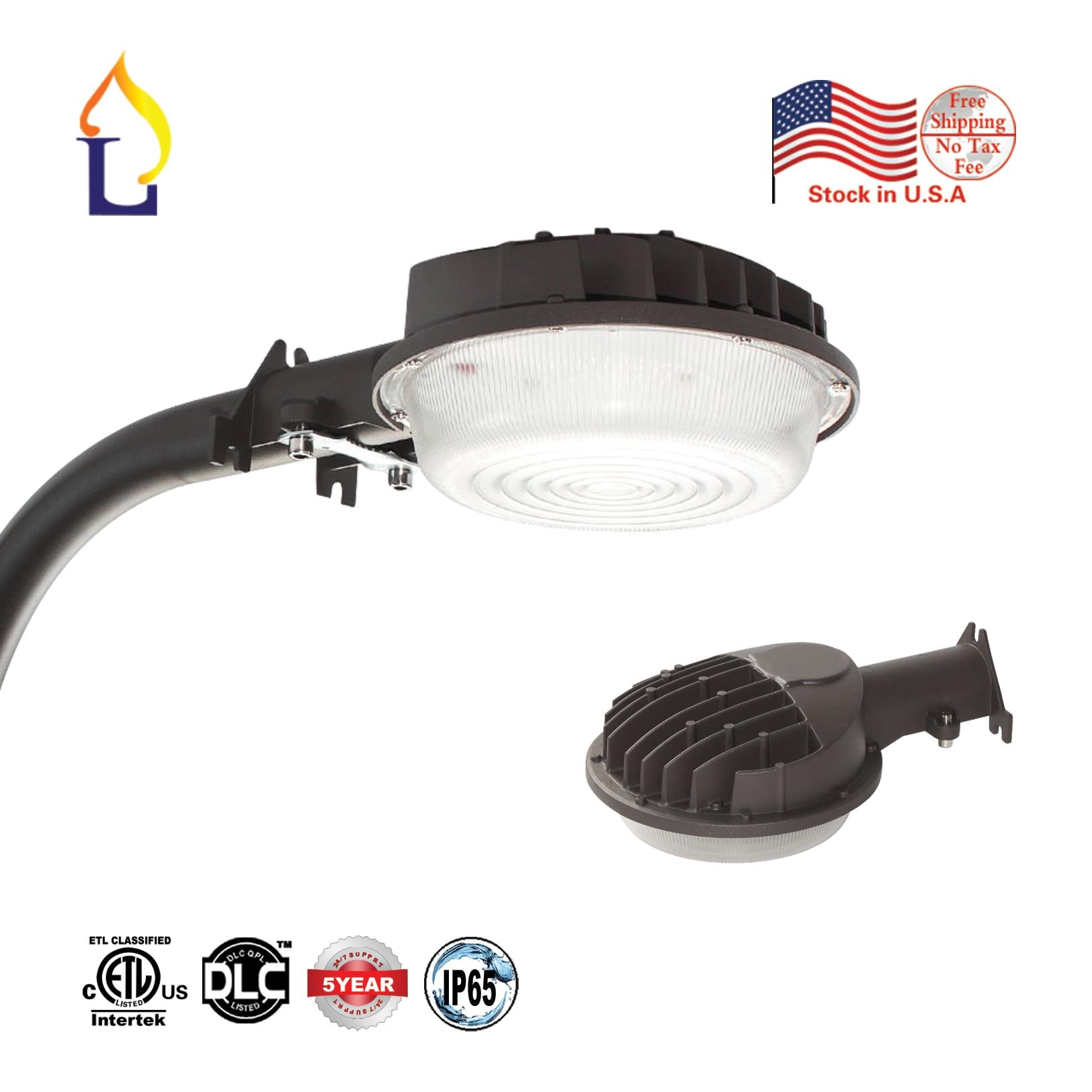 EUA estoque 5 pçs/lote ETL/50 W IP65 DLC listados levou luz celeiro AC100-277V fotocélula sensor conduziu a luz da rua CONDUZIU a iluminação da área
