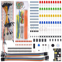 WeiKedz Upgraded Electronics Kit Power Supply Module Jumper Wire Precision Potentiometer 830 Tie Points Breadboard For