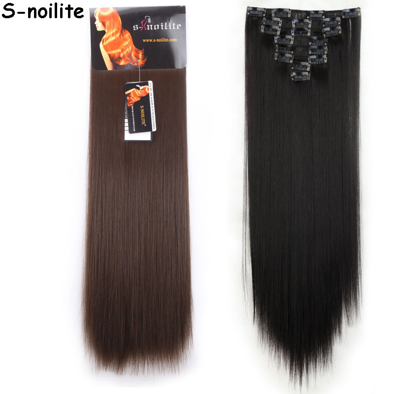 8Pcs Long 26 inches Straight Full Head Clip in on Hair Extensions real thick Synthetic Black