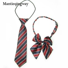 Mantieqingway Striped Plaid Child Bowtie School Style Boy&Girls Children Cotton Tie Slim Tie Cravat Collar Papillon Neckwear(China)