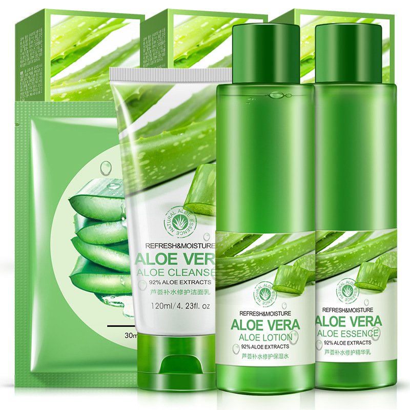 4Pcs Aloe Vera Gel Soothing Moisturizing Whitening Cream Anti-Acne Snti-wrinkle Yellowish Rough Female Acne Cleanser Face Care