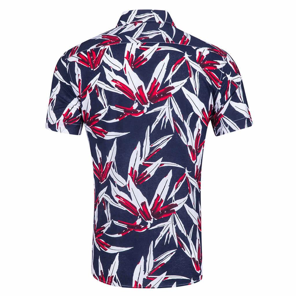 男性のビーチハワイ夏新半袖のビーチ風印刷ファッションカジュアルルースコットン半袖トップ