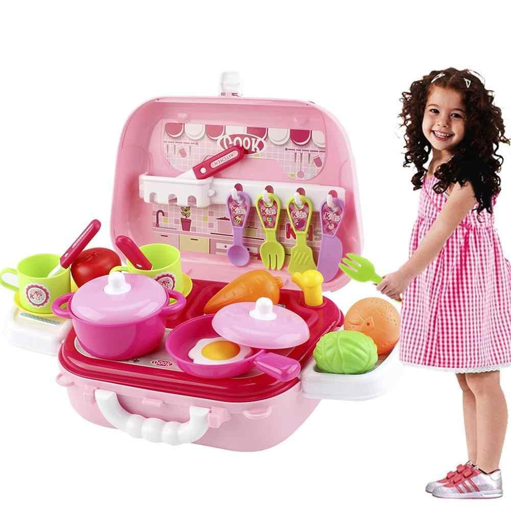 27 шт. детская игрушка для девочек ролевые игры мини-имитация кухонной посуды кухонная посуда ролевые продукты игрушки инструменты для игры Детская сумка коробка