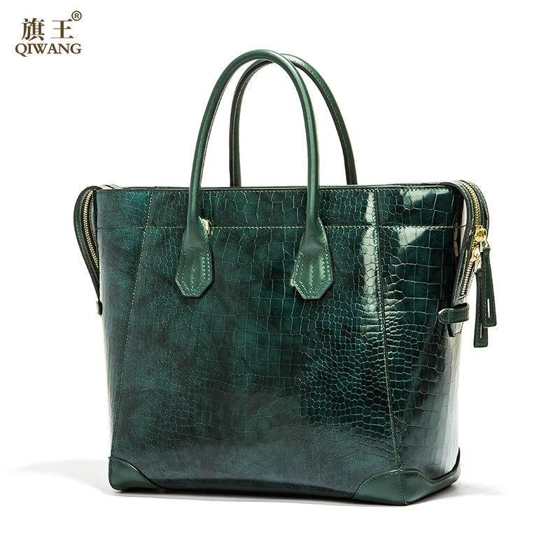 Qiwang Green Luxury Bag for Women Genuine Leather Shiny Tote Bags Women Brand Design Handbag High Quality for Richer qiwang brand women bag genuine leather women shopping tote bag can change shape real leather handbag for women luxury