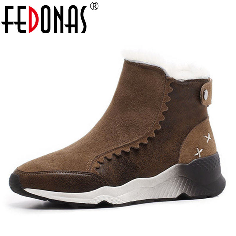 FEDONAS Women Winter Boots With Wool +Plush Fur Comfortable Ankle Boots Genuine Leather Platforms Wedges Heel Snow Shoes Woman fedonas top quality winter ankle boots women platform high heels genuine leather shoes woman warm plush snow motorcycle boots