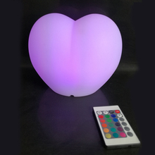PE Plastic moulded heart shape LED illuminated wedding lamp 16 colors Christmas Heart Lights 2pcs/Lot