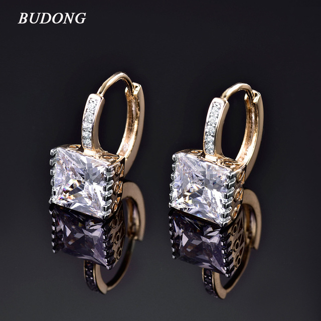 BUDONG Fashion Princess CZ Zirconia Circle Earrings Gold-Color Hoop Earing for Women Crystal Wedding Jewelry XUE302