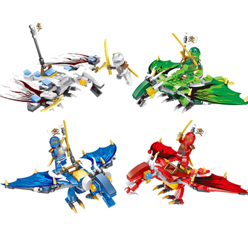 4kind  HOT NINJA Dragon Building Block Lloyd KAI JAY Action Toy Figure Blocks Compatible With Legoinglys NinjagoINGlys Sets ninjago set green mech dragon building blocks kids hot toys ninja bricks mini action figures enlighten toy legoinglys figure