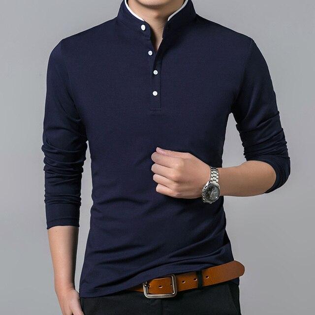Liseaven T-Shirt Men Cotton T Shirt Full Sleeve tshirt Men Solid Color T-shirts tops&tees Mandarin Collar Long Shirt 2