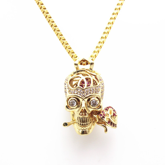 Aliexpress buy fashion stainless steel gothic skull bite fashion stainless steel gothic skull bite rose pendants skeleton beads necklace jewelry mozeypictures Images