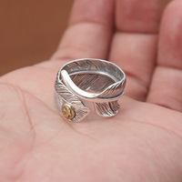 Factory Wholesale Silver Jewelry Silver Ring S925 Retro Mens Takahashi Goro Eagle Feather Ring