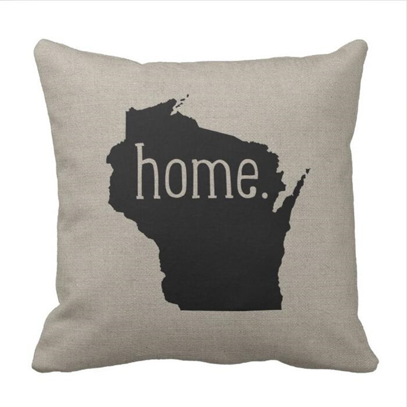 Wisconsin Home State Throw Pillow Case