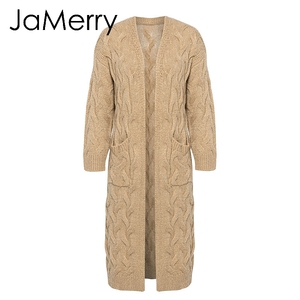Image 5 - JaMerry Vintage winter mohair long cardigan knitted sweater women Long sleeve female jumper cardigan Casual streetwear femme