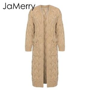 Image 5 - JaMerry Vintage winter moher długi sweter z dzianiny sweter damski z długim rękawem sweter damski sweter casualowe w stylu streetwear femme