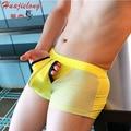 Cueca Sexy Masculina 2016 Sexy Underwear Boxer Gay Mesh Hole Mid Waist Transparentes Mens Underwear