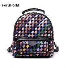 ForUForM Knitted Backpack Women Bag Weave genuine Leather Top-handle Mochila Feminina School Bags Girls Preppy Style bag-SLI-206