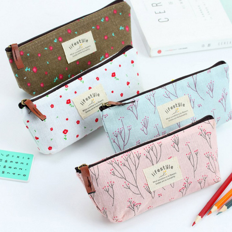Cute Kawaii Flower Floral Canvas Zipper Pencil Cases Lovely Fabric Flower Tree Pencil Pen Bags School Supplies Korean Stationery