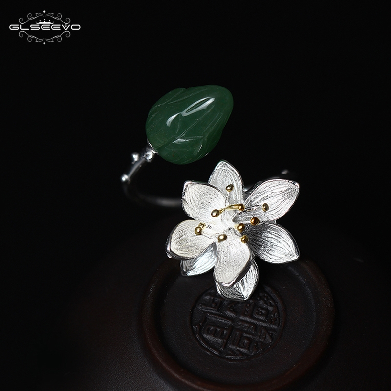 GLSEEVO Natural Green Jade Adjustable Womens Ring Bague Femme Handmade 925 Sterling Silver Flower Open Ring Fine Jewelry GR0010