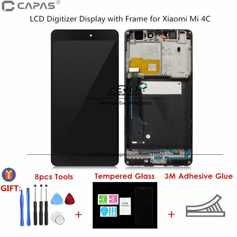 imágenes para Probado LCD Marco De La Pantalla para Xiaomi mi 4C LCD Digitalizador Pantalla para Xiaomi Mi4C Completo Panel de Pantalla Táctil de piezas de Repuesto