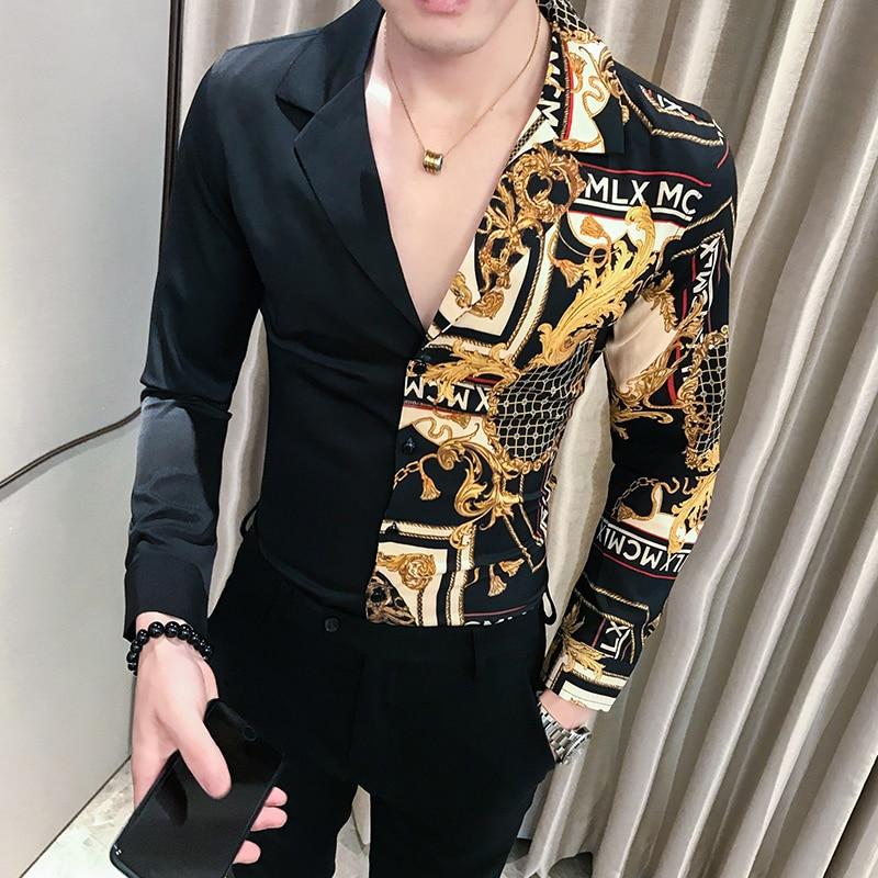 Luxury Black Gold Shirt 2019 Autumn Baroque Men Shirt Long Sleeve Patchwork  Casual Shirt Men Slim Fit Print Party Club Shirt 3