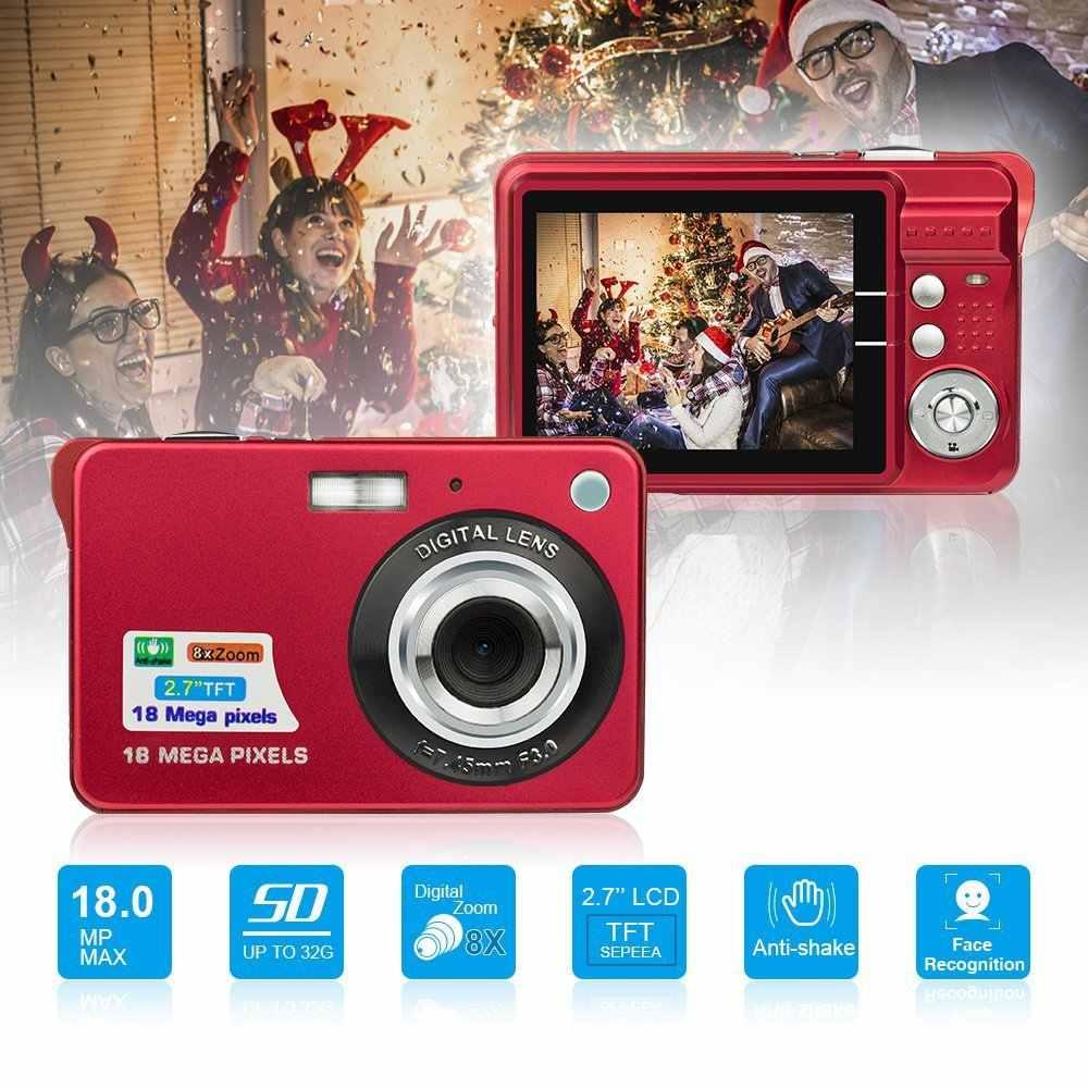 2.7inch 18MP 720P Portable Mini Digital Camera 8X Zoom TFT LCD Screen Video Camcorder Anti-Shake Video Photo Camera Kids Gift