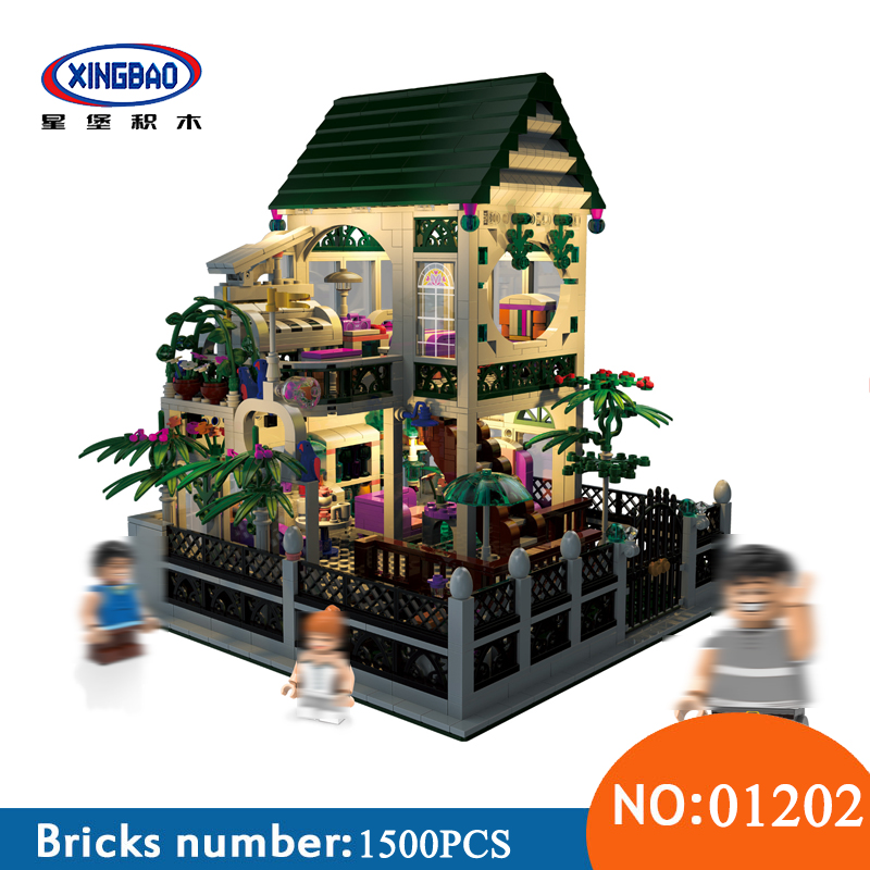 XingBao 01202 1500Pcs with light USB the Romantic heart of the Two floors of Building Block Bricks toys for children Gifts
