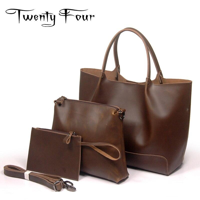 Twenty four Women font b Bag b font Genuine Leather Shoulder font b Bag b font