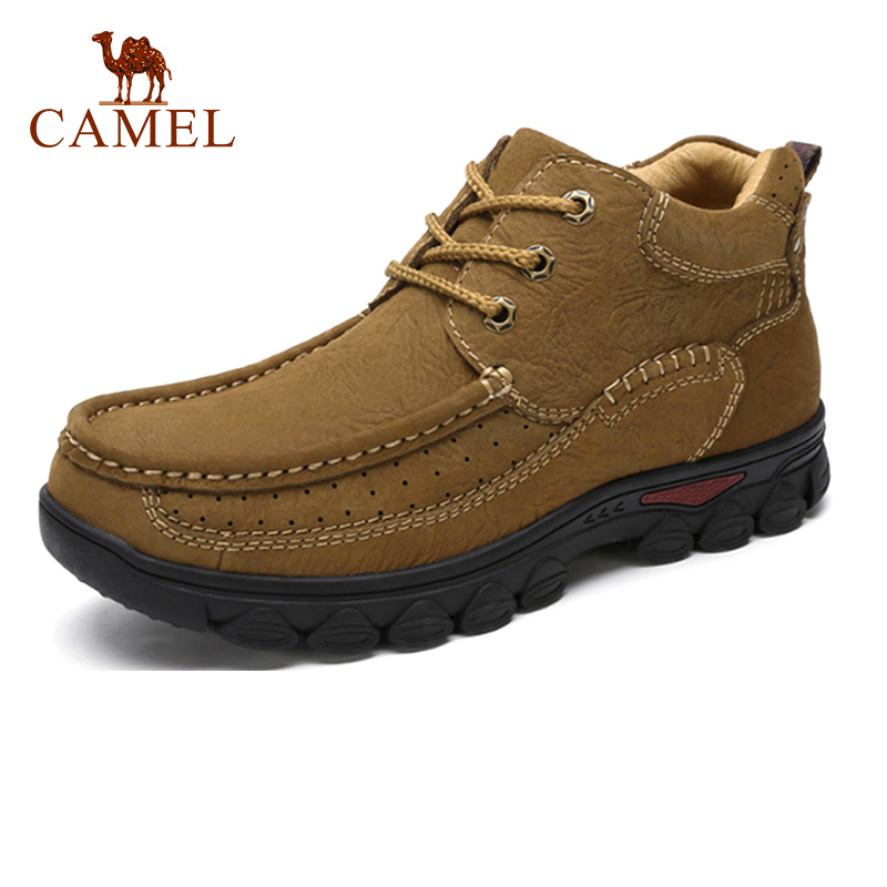 CAMEL Genuine Leather Male Men Shoes Winter Casual High-top Scrub Cowhide Tooling Men Footwear Outdoor Leisure Shoes for Men