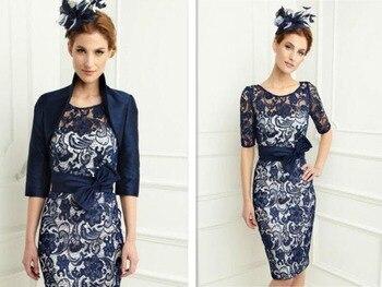 Kostenloser versand robe de soiree 2016 neue mode vestido de festa partei-kleid spitze Mutter der Braut Kleider mit jacke