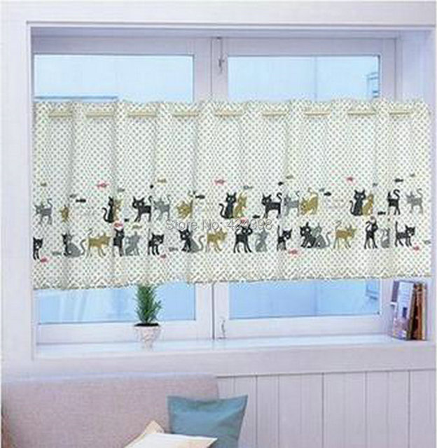 Cat Knitting Yarn Print Coffee Kitchen Short Curtain Fabric Wardrobe Parion Cortinas For Window Blue Pink