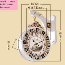 Meijswxj Double-sided Wall Clock Saat Reloj Clock Relogio de parede Duvar Saati  Retro Wood Radio waves Wall Clocks Mute Watch