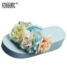 Fongimic высококачественные модные женские ручной работы цветок все матч клинья дышащие Нескользящие Удобные Пляжные шлепанцы на танкетке