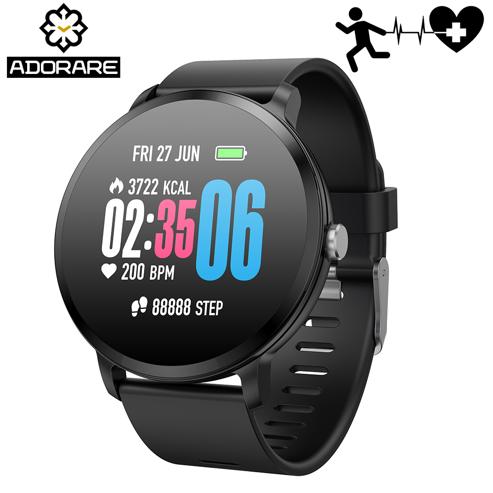 ADORARE V11 Smart Watch Activity Fitness Tracker Heart Rate Monitor Tempered Glass Men Women Smart Bracelet For Android IOS colmi v11 smart watch ip67 waterproof tempered glass activity fitness tracker heart rate monitor brim men women smartwatch
