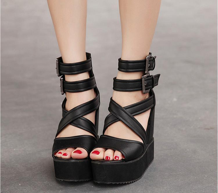 1462072abc4 Sexy Black White Gladiator Heels Wedges Sandals Cute Summer Sandals  Gladiator Fringe Wedges Chunky Heel Sandals Platform Shoes-in Women s  Sandals from Shoes ...