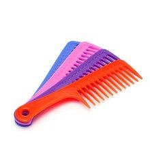 1 шт. Широкий зуб ручка парикмахерские салон антистатик пластик волосы расческа распутывание волос новинка